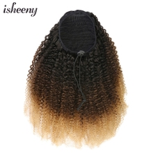 Ponytail-Extensions Human-Hair Kinky Brazilian Afro Color Curly Ombre Clip-In Remy T1B-4-27