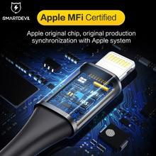 Smartالشيطان MFi USB كابل آيفون SE Xs ماكس 7 Plus 8 Plus شحن سريع ل البرق كابل بيانات الهاتف شاحن كابل