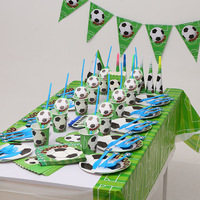Football children's birthday party supplies flags tablecloths cake paper plates cups cutlery set
