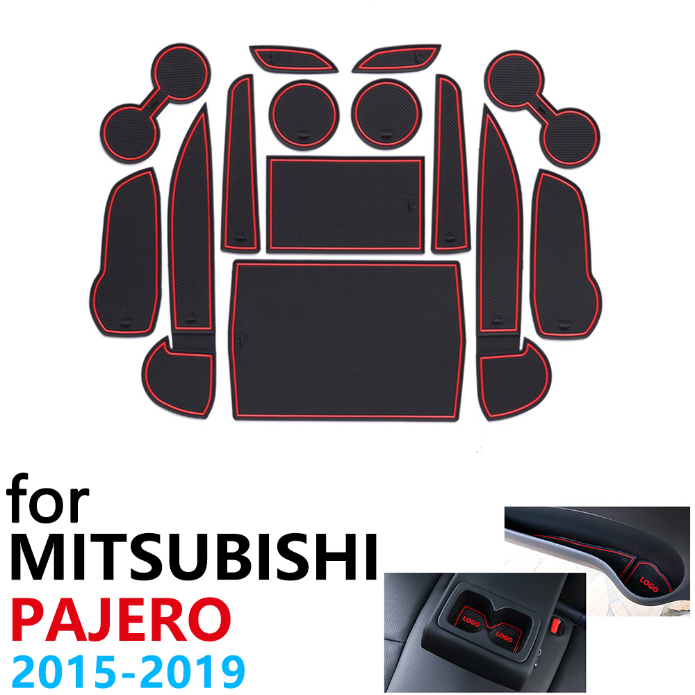 Anti Slip Rubber Cup Cushion Door Groove Mat for Mitsubishi Pajero Sport Montero Shogun 2015~2019 2016 Accessories Car Stickers Car Stickers     - title=