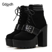 Gdgydh Spring Autumn Platform Boots Women Lace-up Chunky Heel Ankle Strap Elegant Shoes Flock Leather Black Gothic Wholesale elegant women s pumps with chunky heel and ankle strap design