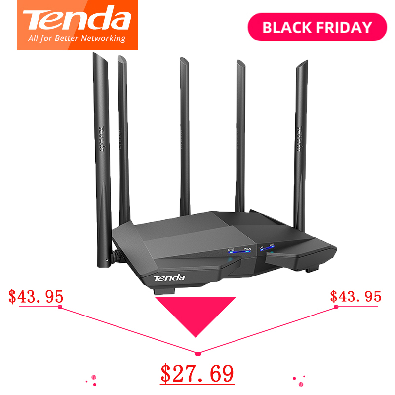 Tenda AC11 AC1200 Wireless Wifi Router Dual-Band Gigabits WIFI Repeater 5*6dBi High Gain Antennas Wider Coverage AC7
