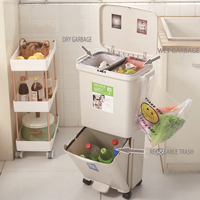 Classification trash household pedal kitchen sanitary bucket plastic with pulley press type elastic cover kitchen storage barrel