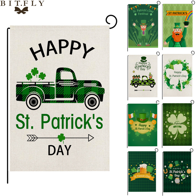 30x45cm Linen Clovers Flags Happy Saint Patrick's Day Decor For Home St. Patricks Day Party Decor Irish Party Supply Favor Gift 1