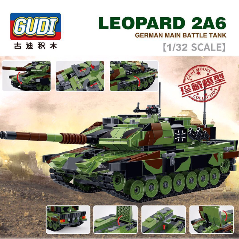 1043pcs 1/32 scale LEOPARD 2A6 GERMAN MAIN BATTLE TANK Building Blocks large collection military toys gifts for kids Brinquedos