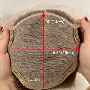"""Image 4 - Neitsi 16 """"20"""" 6*6.5 """"자연적인 인간적인 Toupee 머리 조각에 있는 클립을 가진 똑바른 실크베이스 처녀 표피 여자 Remy 머리 토퍼 가발"""