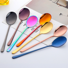 Spoons-Set Coffee-Spoon Long 2PCS 8-Color Scoop Dessert Mixing Rose-Gold Stainless-Steel