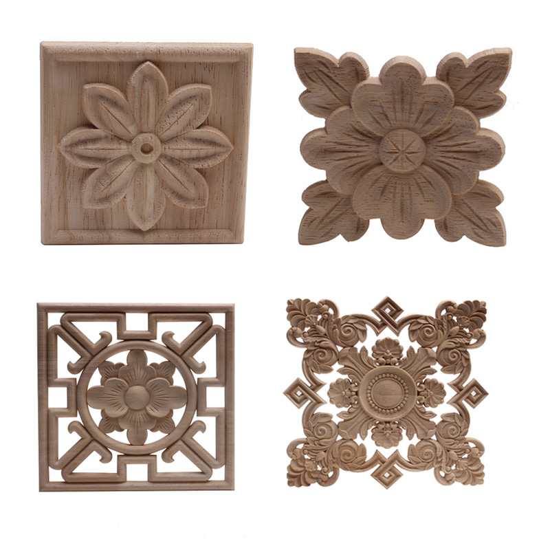 Wood Applique Onlay Wood Decal  Wood Figurines Wooden Carved Decor Unpainted Large Crown Leaves Oval Flower Furniture Doors Home