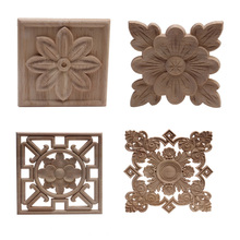 Wood-Decal Flower Carved-Decor Unpainted Large Onlay Furniture-Doors Home Leaves Crown