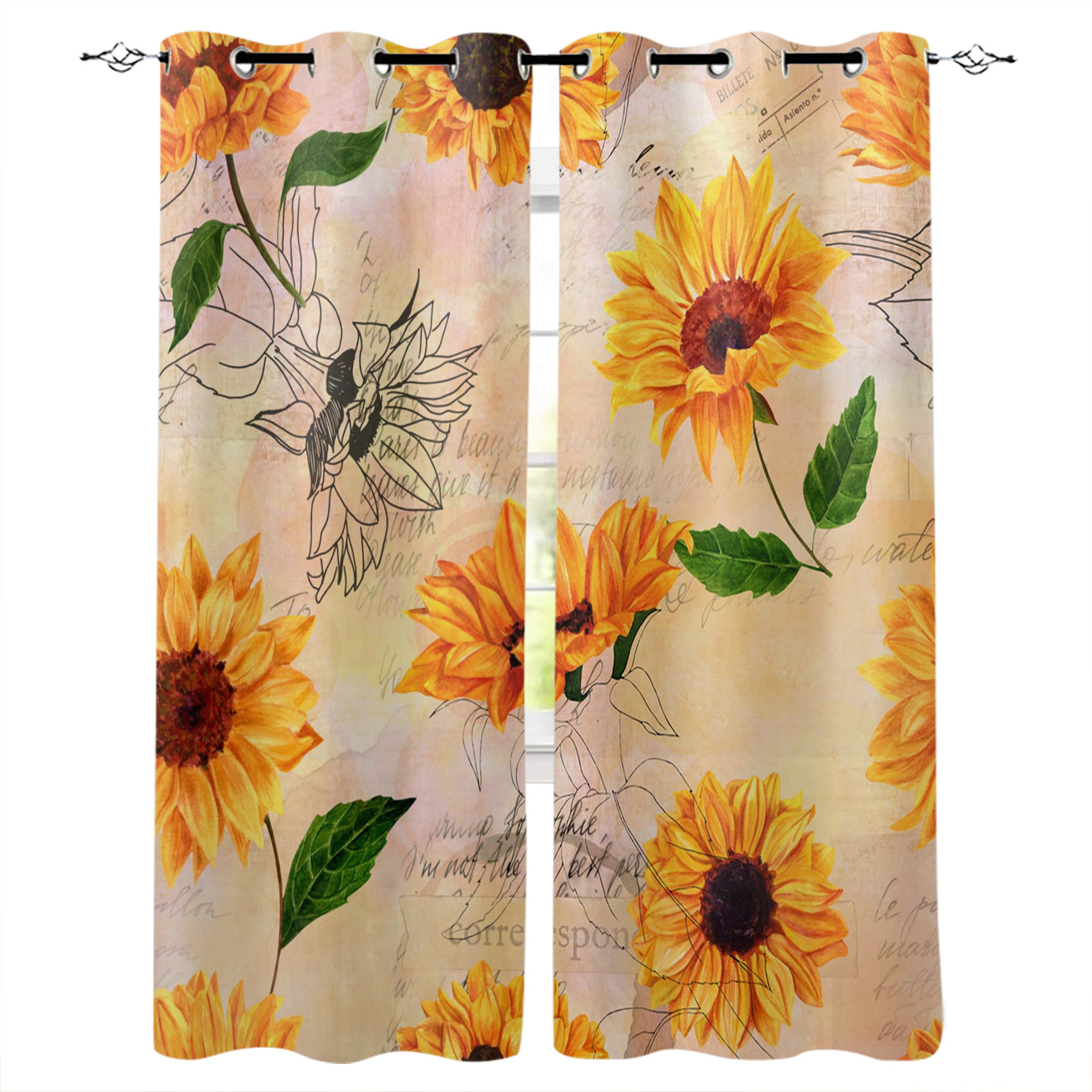 Sunflower Window Curtains Kitchen Drapes Panel Home Decor For Living Room Bedroom Big Discount A3bac0 Cicig