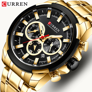 CURREN-relojes deportivos para hombre, cronógrafo de pulsera, de cuarzo, de acero militar, de diseño dorado, masculino