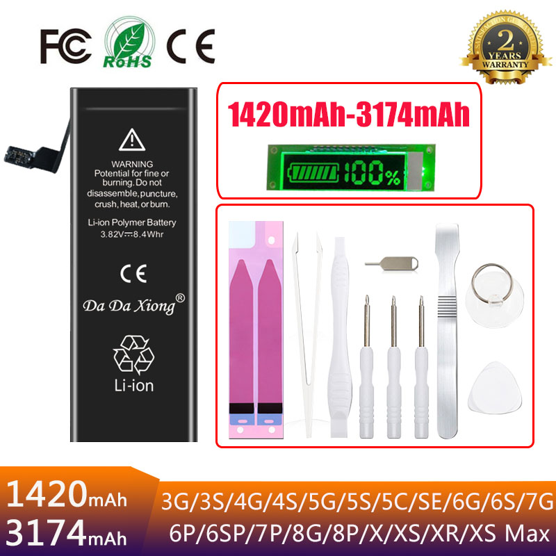 New 0 cycle seal OEM high capacity mobile phone battery for iphone 3 3S 4 4S 5 5S 5C SE 6 6S 7 8 Plus X XR XS Max battery(China)