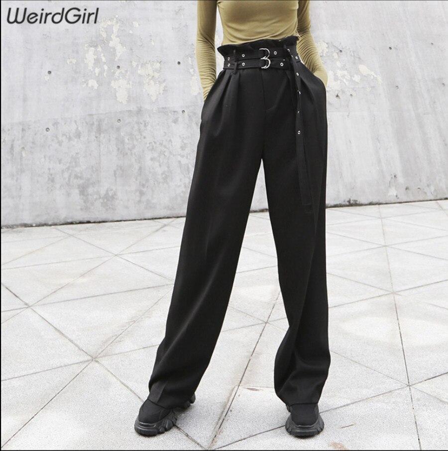 Weirdgirl women casual   wide     leg     pants   double belt high waist loose   pant   streetwear female bottom lady trousers cool autumn new