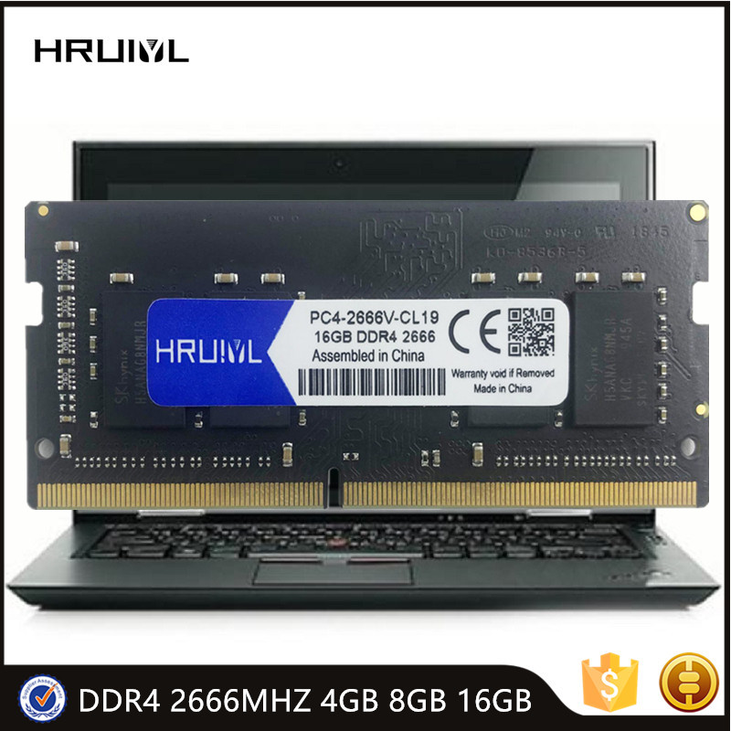 HRUIYL Laptop Memory RAM DDR4 4GB 8GB 16GB 2666MHZ 1.2V DRAM 260 Pin SODIMM High Performance RAM Memoria Module SDRAM New
