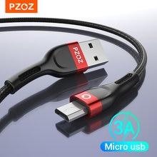 Pzoz micro usb cabo de carregamento rápido 3a microusb cabo para samsung s7 xiaomi redmi nota 5 pro telefone android cabo micro usb carregador