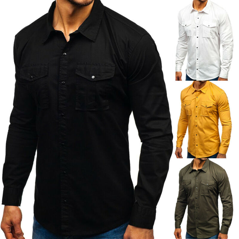 New Fashion 2019 Male Multi-pocket Tooling Shirts Men Casual Solid Slim Fit Long Sleeve Shirt Plus Size