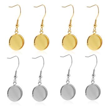20pcs Stainless Steel Earrings Hook Cabochon Blank Base 6 8 10 12 14 16 18 20 25 30mm Glass Resin DIY Jewelry Making  No Nickel