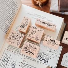Rubber-Stamps Stationery Scrapbooking Flower Wooden Girl for DIY Craft Standard-Decoration