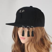 Kids Fashion Metal Ring Iron Tassels Rivet Baseball Caps Black Hip Hop Hat Punk Rock Style Baseball Caps for Women Men Chapeu