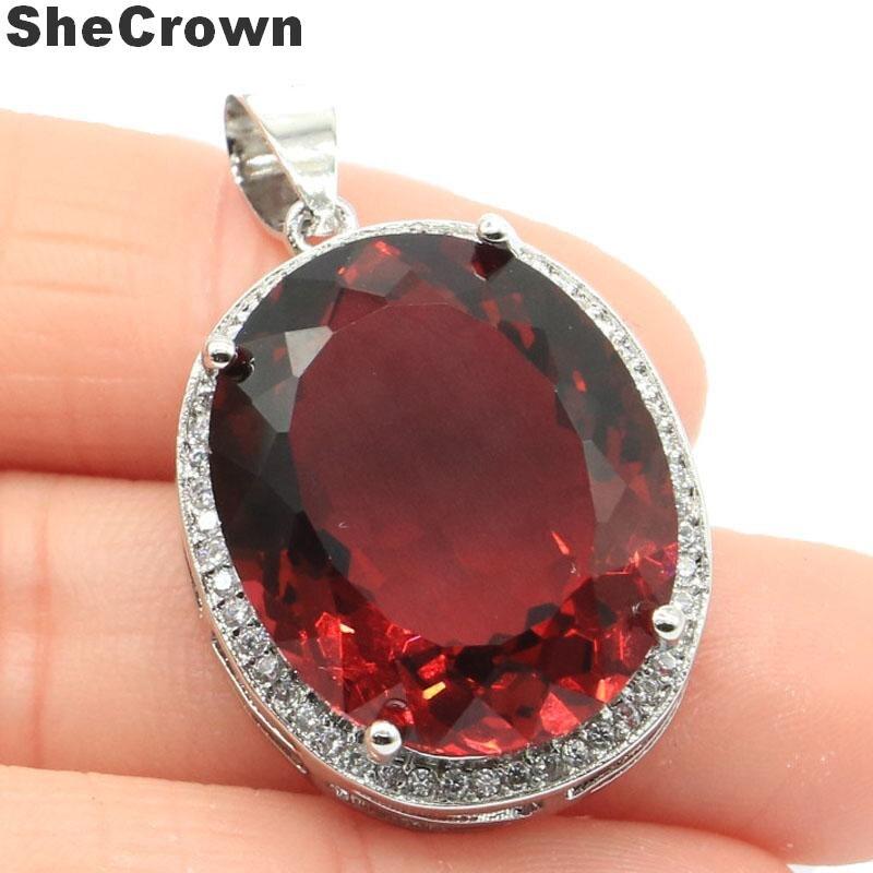 25x20mm Luxury Big Oval Gemstone Created Pink Raspberry Rhodolite Garnet CZ Silver Pendant