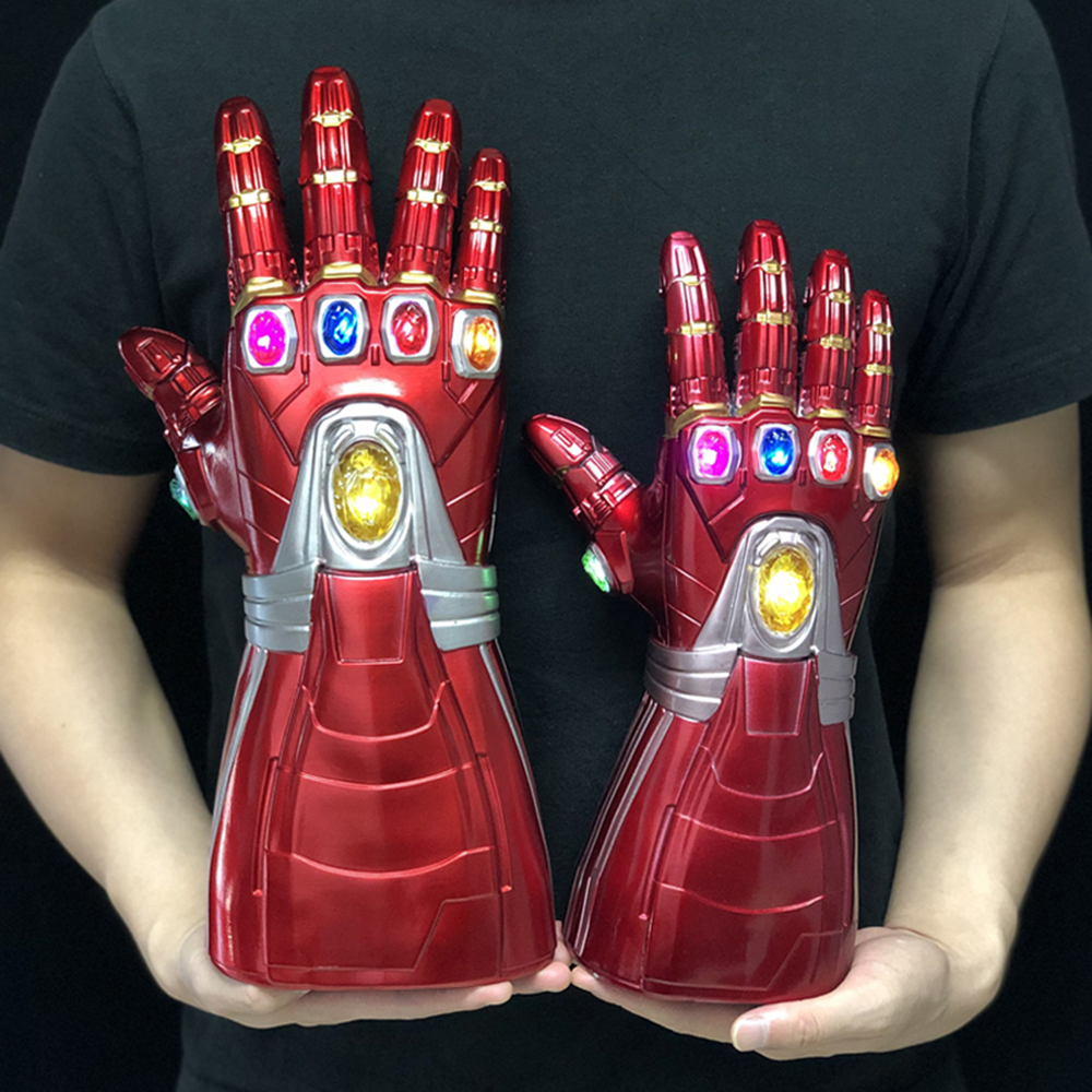 LED Iron Man Gloves Infinity Gauntlet Hulk Cosplay Endgame Arm Thanos Kid Adult Gloves Arms Mask Superhero Weapon Party Props