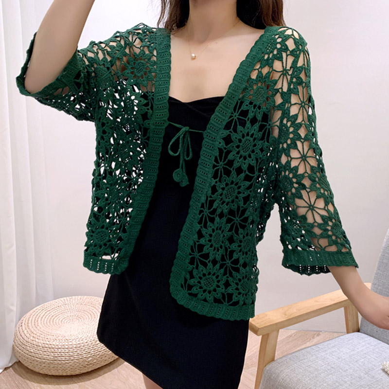 2020 Korean Knitted Lace Blouse Shirt Women Summer Tops Sexy Hollow Out Crochet Brief Vintage Blouse For Women Cardigan