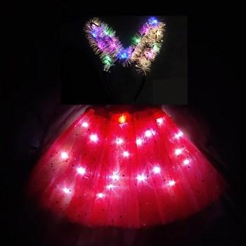 Czerwona nowa dziecięca i dziewczęca spódnica świetlna led krótka spódniczka puszysta krótka spódniczka nowa dziwna krótka spódniczka błyszcząca urodzinowa zestaw spódnic tanie i dobre opinie Nowość Pasuje prawda na wymiar weź swój normalny rozmiar NYLON Stałe Powyżej kolana Mini Suknia balowa