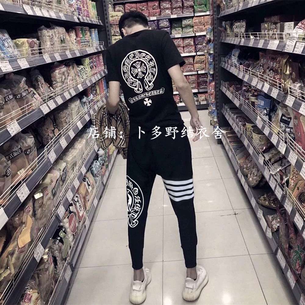 2019 New Style Summer Leisure Suit Young MEN'S Short Sleeve T-shirt Fashion Cool Handsome Sports Two-Piece Set