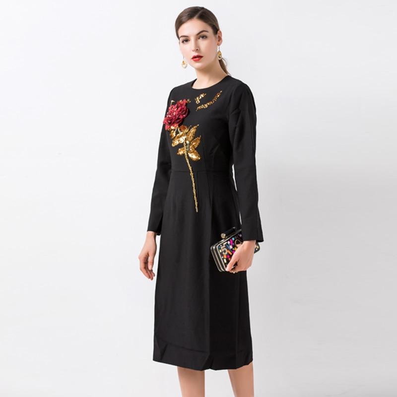 موجز النساء فساتين الصيف 2019 الأزياء إلكتروني والزهور مطرزة كم طويل ابيض/أسود الطازجة منتصف العجل سليم اللباس-في فساتين من ملابس نسائية على  مجموعة 2