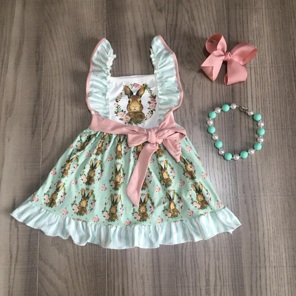 Baby Girls Easter Dress Girls Bunny Dress With Belt Girls Cotton Dress With Accessories