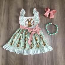 Vestido de páscoa para meninas, vestido de coelhinho com cinto para meninas, vestido de algodão com acessórios