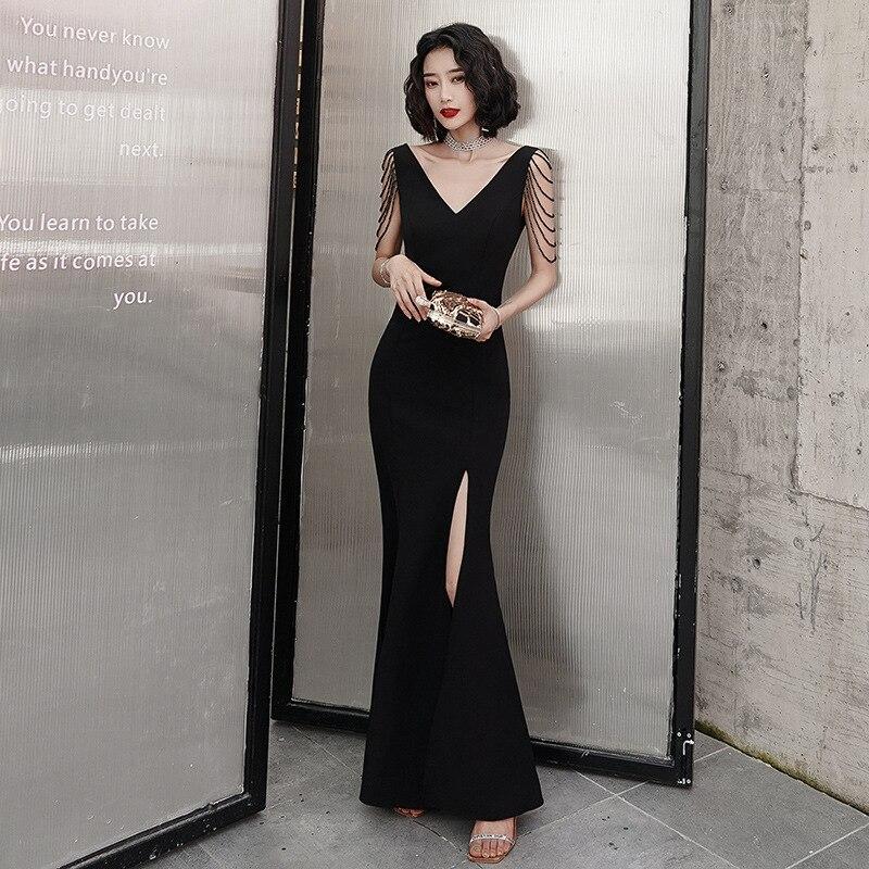 Vestido De Noiva Vestido De Festa Evening Dress Female 2020 New Noble Banquet Style Host Long Temperament Fishtail