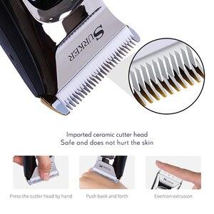 Image 2 - מקצועי שיער גוזם לגברים נטענת חשמלי שיער קליפר עם גבול קומבס אורך מתכוונן קרמיקה להב 35