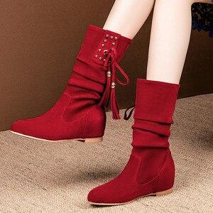 Image 5 - Morazora 2020 Hàng Mới Về Nữ Mắt Cá Chân Giày Đàn Đinh Tán Tua Rua Thu Đông Giày Bằng Giản Nữ Big Size 33 52