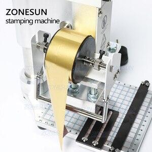 Image 3 - ZONESUN ZS100 دليل PVC بطاقة الجلود ورقة شعار الساخن ختم البرنز النقش آلة لكمة الحرارة الصحافة آلة 5x10cm
