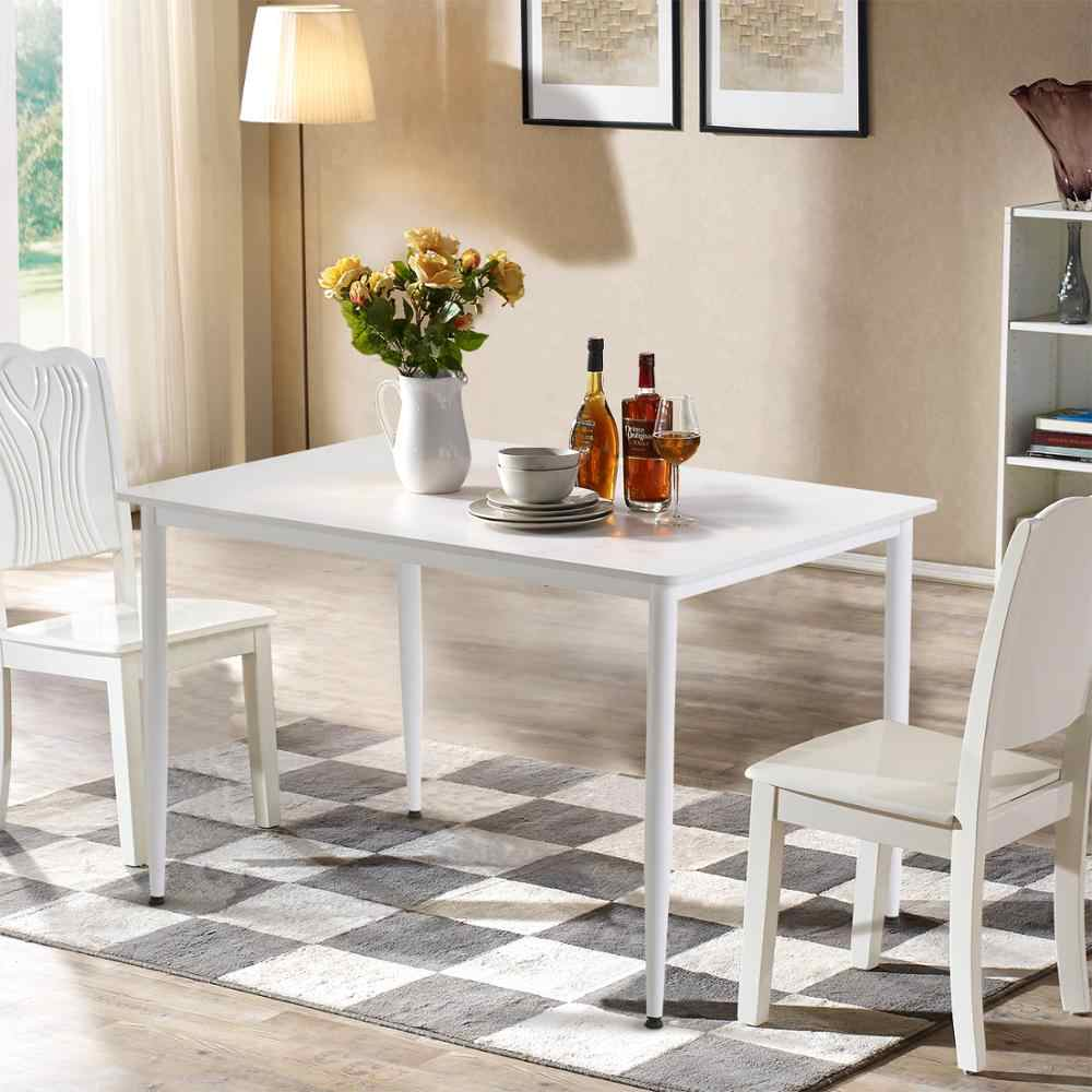 Home Furniture Living Room Couple White Dining Table Rectangle Kitchen Table Adjustable Legs Height E1 Mdf Tabletop Steel Frame Sofa Tables Aliexpress