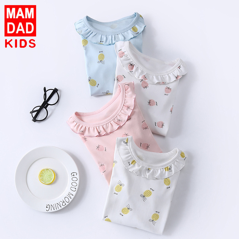 Girls' Pajama Pure Cotton 2019 Spring And Autumn Women's Air Conditioning Clothes GIRL'S Nightgown Girls Dress Tracksuit Long Sl