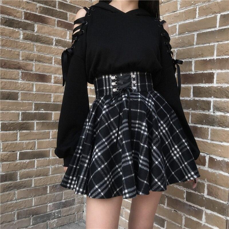 Qiukichonson Gothic Lolita Skirt Women 2020 Spring Autumn Winter High Waisted Lace-up Short Plaid Wool Skirts Mini tutu femme