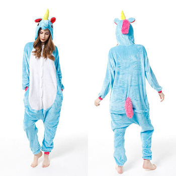 Blue Unicorn Animal One-piece Cosplay Costume Winter Flannel Hooded Onsies Pajamas Women Adult Unisex Cartoon Casual Homewear