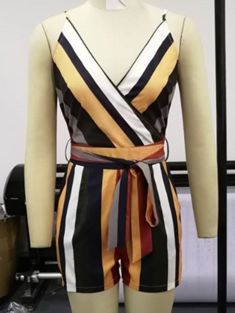 Women Patchwork Striped Sleeveless Tied Rompers Short Jumpsuit Sexy Ladies V neck One Piece Overall Playsuits