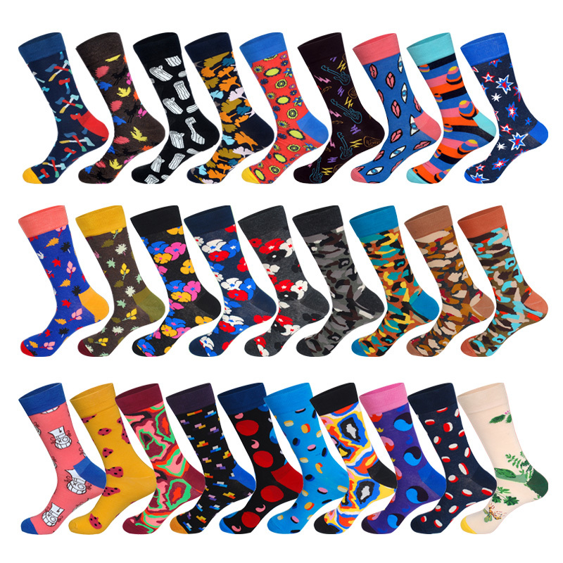 LIONZONE Floral Camouflage Leaf Tai Chi Ax Wood Pattern Novelty Men Dress Socks Cotton Street Fashion Ankle Socks