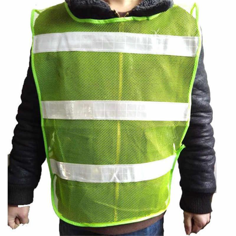 Yüksek görünürlük yeşil yelek yansıtıcı güvenlik iş giysisi için gece koşu bisiklet adam gece uyarı çalışma kıyafetleri floresan