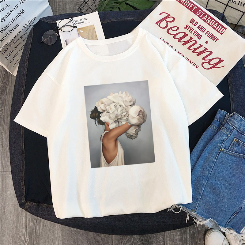 Tshirt Short-Sleeve Flowers Print Loose Round-Neck Casual And TX143 America Europe