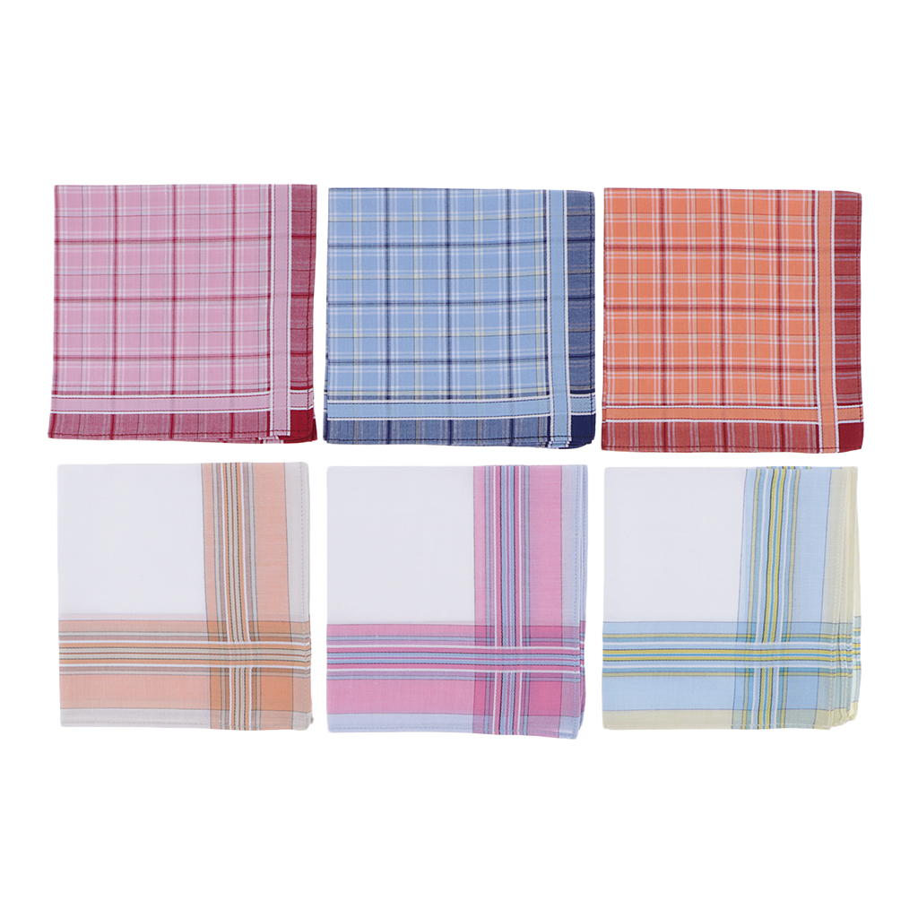 6pcs Handkerchiefs 100% Cotton High Quality 28x28cm - Check Pattern Pocket Square Pink Classic Plaid Handkerchief