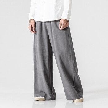 Mens Nature Cotton Linen Baggy Trousers Men Casual Solid Straight Loose Pants Plus Size Wide Leg Pantalon Hombre fashion cotton linen harem pants men baggy pants japanese style mens crotch wide leg pants casual loose boho trousers
