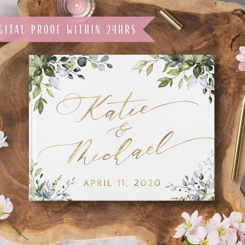 Alternatives Flower Wedding Guest Book Personalized White Guestbook Wedding Guestbook Album Custom Wood Look Printable Guestbook