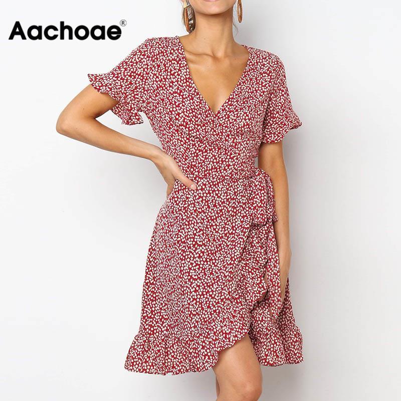 Aachoae 2020 Sexy Deep V-neck Summer Dress Women Boho Floral Print Mini Party Dress Ruffle Short Sleeve Beach Dress Robe Ete