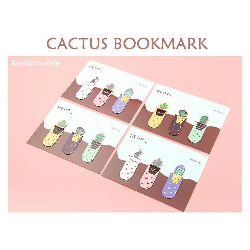 3pcs Cactus Bookmark Combination Magnet Student Creative Mini Book Clip Flip Book Clip Office Stationery Bookmark