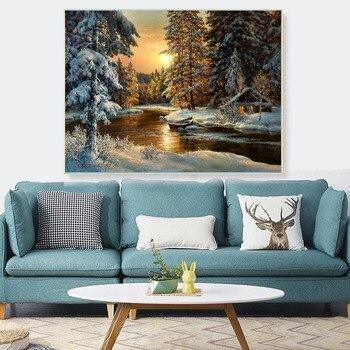 Broderie point de croix - paysage hivernal 2