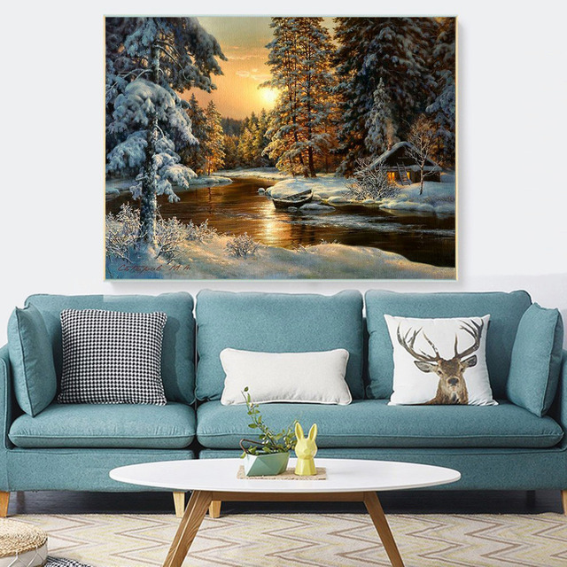 Broderie point de croix – paysage hivernal 2